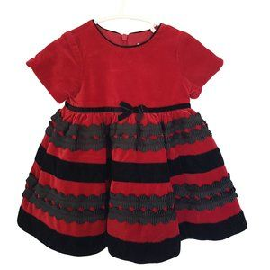 CHILDREN'S PLACE Girls Red Velvet Party Dress 6-9m